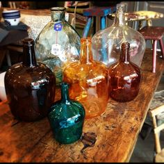 Coloured glass botles
