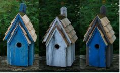 Bluebird Approved and handcrafted of solid cypress-in 3 new fun colors! Rustic Blue Bird Birdhouse has features both hosts and blues will love! Hand painted with distinct variations, durable cypress e