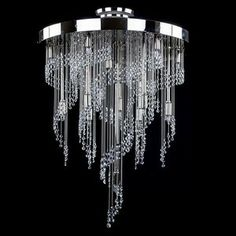 Spiral Crystal Light chandelier - Size Wattage Impressive modern chandelier has very original and interesting shape, which resembles a m. Art Deco Chandelier, Luxury Chandelier, Iron Chandeliers, Candle Chandelier, Modern Chandelier, Chandelier Lighting, Modern Lighting, Modern Crystal Chandeliers, Crystal Lamps