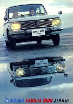 Familia-1000-4door Auto Retro, Retro Cars, Vintage Cars, Japanese Cars, Vintage Japanese, Mazda Familia, Mazda Cars, Japanese Domestic Market, Car Brochure