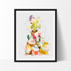 Snow White's Seven Dwarfs Watercolor Art. This art illustration is a composition of digital watercolor images and silhouettes in a minimalist style.