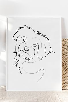 Dog Line Drawing, Dog Line Art, Dog Drawing Simple, Pencil Art Drawings, Art Drawings Sketches, Easy Drawings, Custom Dog Portraits, Pet Portraits, Perro Shih Tzu