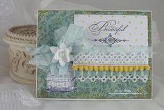 Life is beautiful w/lace & bird card