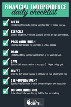 Financial Independence Daily Checklist – Finance tips, saving money, budgeting planner Financial Peace, Financial Tips, Financial Planning, Financial Literacy, Business Planning, Business Tips, Ways To Save Money, Money Saving Tips, Money Tips
