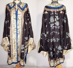 Antique Chinese Silk Embroidered Forbidden Stitch Peony Butterfly Bird Robe   Front view.
