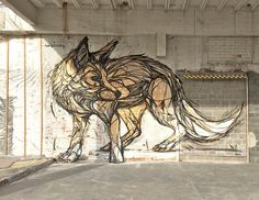 Geometric Animal Street Art by Dzia, a Belgian Street Artist Murals Street Art, Art Mural, Mural Painting, Street Art Graffiti, Fuchs Tattoo, Urbane Kunst, Outdoor Art, Land Art, Street Artists