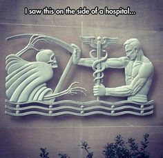 Saw this inside a hospital. Hermes fighting Hades which makes sense cause it's medicine fighting death.