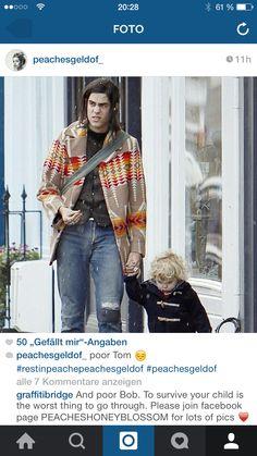 Tom Cohen and his wonderful son -----rip peaches! Peaches Geldof, Strollers, Toms, Kimono Top, Children, Fashion, Young Children, Moda, Boys