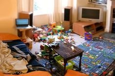 Declutter House | Clutter from toys in a home living room