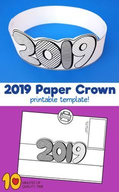 2019 New Year Crown Printable – stampin up karte neujahr frohes neues jahr happy woman with flower types new year neujahr neighbor gift ideas with free printable tags New Years Activities, Fun Activities For Kids, Winter Activities, New Year's Crafts, Easy Arts And Crafts, Activies For Kids, Crown Printable, New Year Printables, Crown For Kids