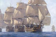 """The Heavyweight Punch,"" by Geoff Hunt. ""HMS Victory,"" ""HMS Temeraire"" and ""HMS Neptune"" leading the line at Trafalgar on Oct. 21, 1805."