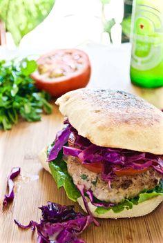 Jalapeno Turkey Burgers with Purple Cabbage Slaw