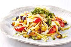 Roast tomato, eggplant and pesto fettuccine