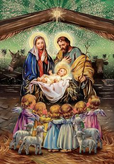 Merry Christmas Gif, Christmas Nativity Scene, Christmas Scenes, Christmas Wishes, Christmas Pictures, Vintage Christmas, Christmas Phone Wallpaper, Christmas Artwork, Christmas Paintings