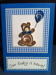 Set of 5 quilled Teddy Bear   Baby Boy Card by NaturalBornQuiller, $25.00