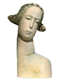 """Stella Zadros, ceramic sculpture- """"Head of towns woman"""" from The Magical Krakow series, 2007, 65 cm (h), www.stellaart.com"""