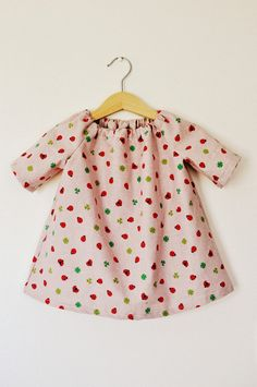 Pink ladybug ladybird clover leaf toddler babies girls tunic dress top in cotton fabric age 1 - 2 3 - 4. $20.00, via Etsy.