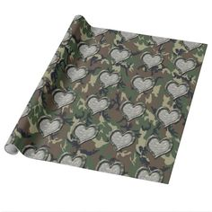 #Camouflage Woodland Forest Heart on Camo Gift Wrap Paper by #Camouflage4you #military #militarylove