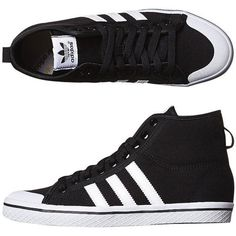 Adidas Originals Women's Honey Stripes Mid Shoe Canvas Women's Shoes... ($41) ❤ liked on Polyvore featuring shoes, sneakers, trainers, zapatillas, black white, canvas sneakers, black and white high top sneakers, black high top sneakers, black white sneakers and high top sneakers