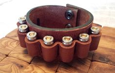 Leather cartridge cuff bracelet fits 9mm and 380