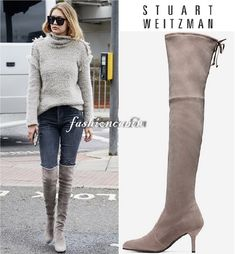 ed2ee204196 Details about New Stuart Weitzman Taupe Topo TIEMODEL Suede Over the Knee  Boot  899~8.5M~ 798