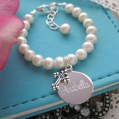 Baby Girl Baptism Bracelet Sterling Silver Engraved Personalized Pearl ...