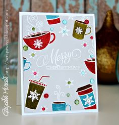 Coffee Cup images from Paper Smooches, Clearly Besotted, Lil' INkers and Jane Doodle stamp sets. White embossed and colored with distress markers. Christmas but could be used for other occasions.