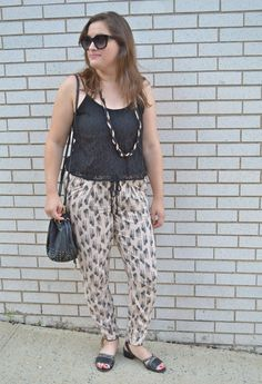 Lace top + printed pants