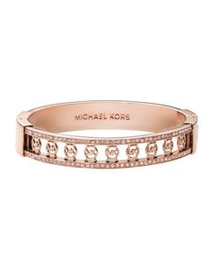 Monogram-Cutout Pave Bangle, Rose Golden by Michael Kors at Neiman Marcus.