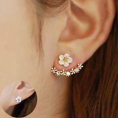 Blumen Kristalle Ohrstecker für Frauen Rose gold farbe Doppelseitige Modeschmuck Ohrringe weiblichen Ohr brincos Angemeldet