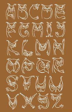 Owl-alphabet, made for Jon van den Berg.