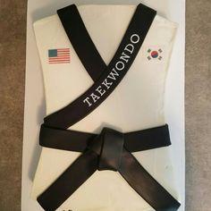 Taekwondo black belt cake! Like us on Facebook at Gearhart Custom Cakes