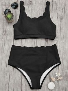 SHARE & Get it FREE | Scalloped High Waisted Bralette Bikini Set - Black LFor Fashion Lovers only:80,000  Items • New Arrivals Daily Join Zaful: Get YOUR $50 NOW! #highwaistedbikinis