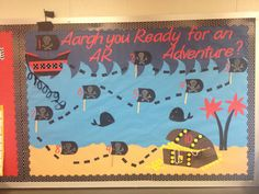 Pirate themed AR bulletin board! Each reader gets a pirate to move through the different levels on the treasure map!