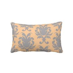 Peach and Gray Damask Throw Pillow