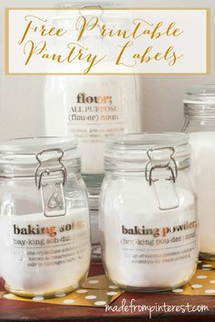 Free Printable Pantry Labels. Organize your pantry with these free printable pantry labels and make them pretty by adding foil with the Minc Machine!