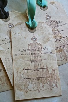 Save the date vintage tags