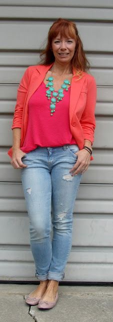 coral blazer and tank top, deconstructed skinny jeans, nude ballet flats