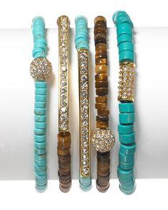 Michael Kors bracelets.Combination of turquoise and tortoiseshell w/ rhinestone accents.
