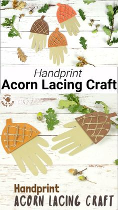 How adorable is this Handprint Acorn Lacing Craft? Acorn crafts are perfect for Autumn and this handprint acorn lets children lace and thread a textured acorn cap while building their fine motor skills in a fun way. A lovely Fall craft and lacing activity Fall Crafts For Toddlers, Easy Fall Crafts, Halloween Crafts For Kids, Fun Diy Crafts, Thanksgiving Crafts, Toddler Crafts, Preschool Crafts, Autumn Activities For Kids, Kids Crafts