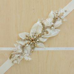 Faja de cinturón nupcial boda cinturón nupcial oro por LeFlowers