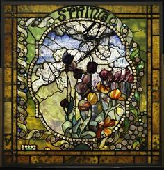 A panel from Tiffany's The Four Seasons composition, which won him a gold medal at the 1900 Exposition Universelle in Paris. Image courtesy of the Charles Hosmer Morse Museum of American Art, Winter Park, Florida. Stained Glass Panels, Leaded Glass, Stained Glass Art, Mosaic Glass, Beveled Glass, Tiffany Kunst, Tiffany Art, Louis Comfort Tiffany, Tiffany Stained Glass