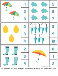 rain themed counting activity with clothespin - Funny crafts Preschool Age, Preschool Learning, Kindergarten Worksheets, Preschool Activities, Teaching Kids, Fun Activities For Toddlers, Counting Activities, Math For Kids, Fun Math