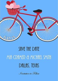 Bicycle Printable Save The Date Card by bketler on Etsy, $10.00