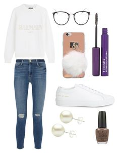 """Sans titre #1456"" by merveille67120 ❤ liked on Polyvore featuring Balmain, Frame Denim, Common Projects, Linda Farrow, By Terry and OPI"