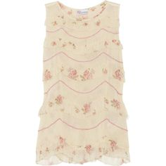 RED Valentino Chiffon-trimmed woven cotton top (3.390 ARS) ❤ liked on Polyvore featuring tops, shirts, blouses, tank tops, dresses, cream, cream shirt, floral top, striped shirt and embroidered shirts