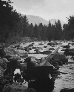 mother nature | naked | river | border collie | dog | woods | forest | landscape | via The Libertine Magazine.'The Nude In Vogue'.Special Edition.Brooke Shields by Bruce Weber for Vogue Russia.Winter 2012.1