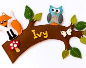Woodland creatures handmade personalised name plate. Tree branch with fox, owl and butterfly from Babes in the Woods. $45. Order for Christmas!