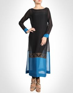 Tunic is bold and subtle with its broad blue border and traditional motifs. Shop now@ www.kimaya.in