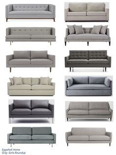 Eggshell Home - Gray Sofa Roundup - Affordable, Modern and Casual Sofas